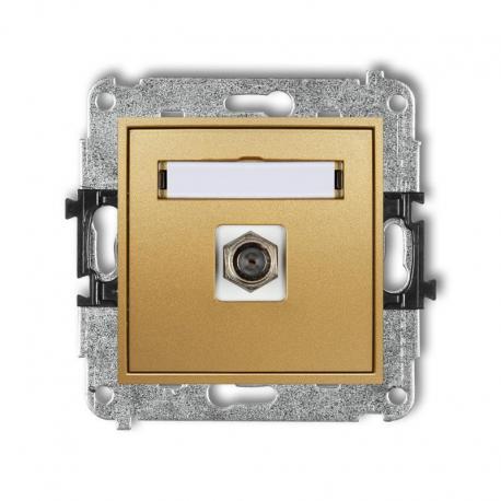 Karlik MINI Mechanizm gniazda antenowego pojedynczego typu F (SAT) pozłacany złoty 29MGF-1.1