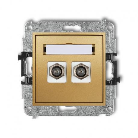 Karlik MINI Mechanizm gniazda antenowego podwójnego typu F (SAT) niklowany złoty 29MGF-2