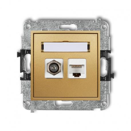 Karlik MINI Mechanizm gniazda antenowego poj. typu F (SAT) + gniazda komp. poj. 1xRJ45, kat. 5e, 8-stykowy złoty 29MGFK