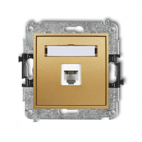 Karlik MINI Mechanizm gniazda telefonicznego pojedynczego 1xRJ11, 4-stykowy, beznarzędziowe złoty 29MGT-1