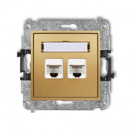 Karlik MINI Mechanizm gniazda komputerowego podwójnego 2xRJ45, kat. 6, ekranowane, 8-stykowy złoty 29MGK-6