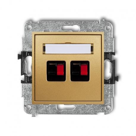 Karlik MINI Mechanizm gniazda głośnikowego podwójnego złoty 29MGG-2