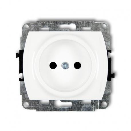 Karlik TREND Mechanizm gniazda pojedynczego bez uziemienia 2P (przesłony torów prądowych) biały GP-1p