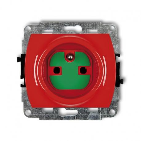 Karlik TREND Mechanizm gniazda pojedynczego z uziemieniem 2P+Z DATA z kluczem czerwony GZK