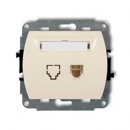 Karlik TREND Mechanizm gniazda telefonicznego pojedynczego 1xRJ11, 4-stykowy beżowy 1GT-1