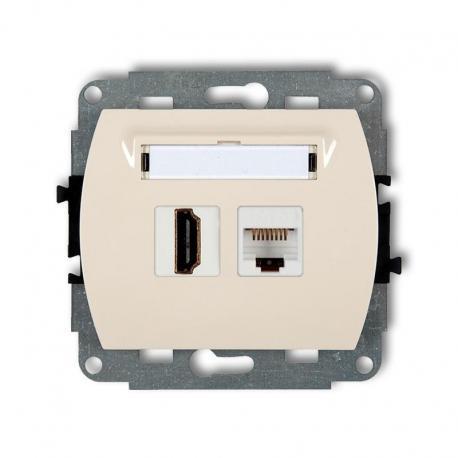 Karlik TREND Mechanizm gniazda pojedynczego HDMI + gniazda komp. poj. 1xRJ45, kat. 5e, 8-stykowy beżowy 1GHK