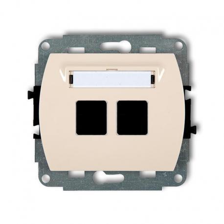 Karlik TREND Mechanizm gniazda multimedialnego podwójnego bez modułu (standard Keystone) beżowy 1GM-2P