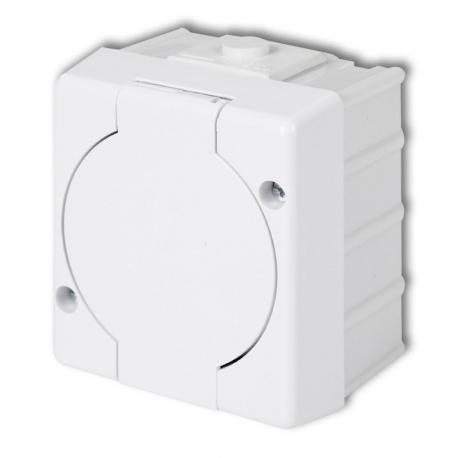 Karlik SENIOR Gniazdo pojedyncze z uziemieniem 2P+Z (klapka biała) biały GHS-1