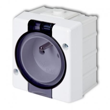 Karlik SENIOR Gniazdo pojedyncze z uziemieniem 2P+Z (klapka dymna) biały GHS-1d