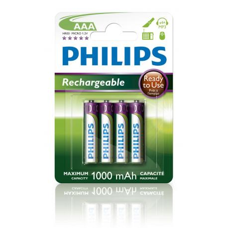 Akumulator Philips R03 Ni-Mh 1000mAh gotowe do użycia B4
