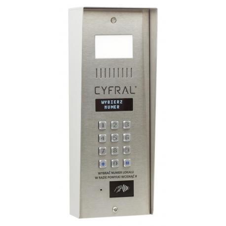Cyfral PC-4000 RE z wbudowaną nową elektroniką CC 4000 , podświetlaną mini wizytówką , zamkiem szyfrowym i czytnikiem RFID