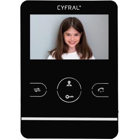 Cyfral Dotykowy Videomonitor v4 z pamięcią obrazów ,9 melodii dzwonka , 4 cale CZARNY